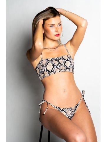 Bikini bandeau motif piton