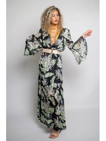 Longue robe à motif feuillage