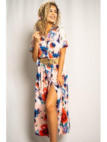 Longue robe à motif colorée...