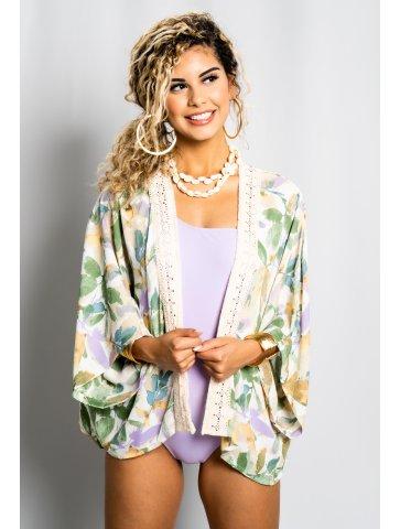 Kimono Court Fleuri Avec...