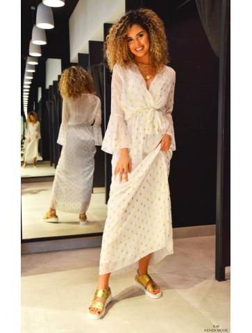 Robe Blanc/Or Marina