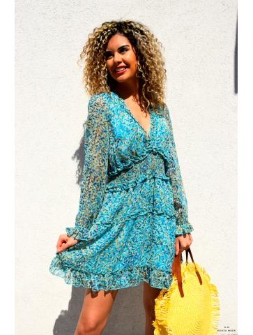 Robe Turquoise Flora